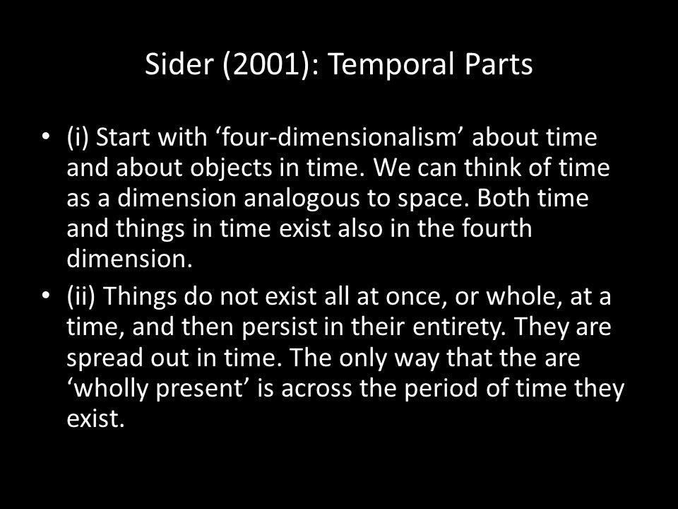 Sider (2001): Temporal Parts