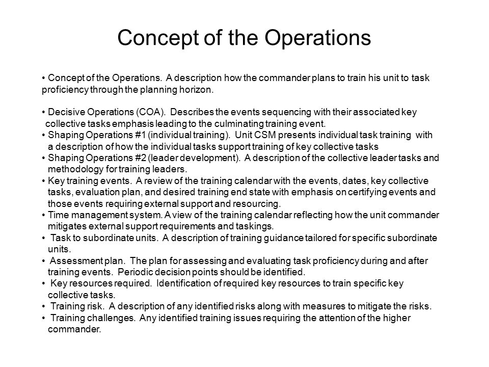 Concept of the Operations