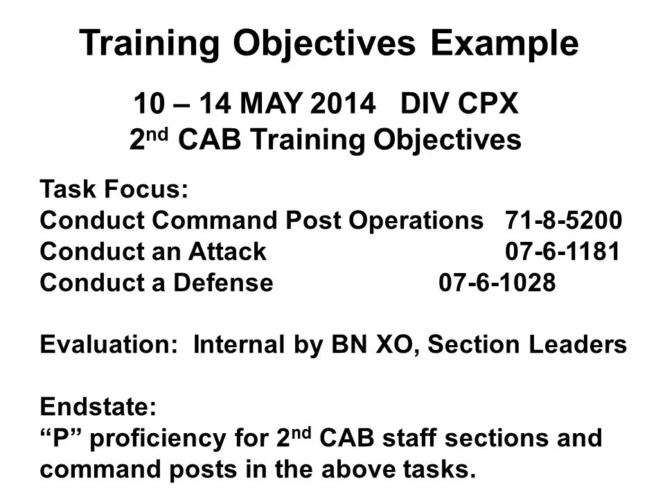 Training Objectives Example 2nd CAB Training Objectives