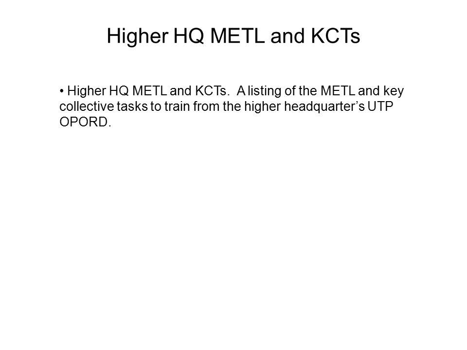Higher HQ METL and KCTs Higher HQ METL and KCTs.