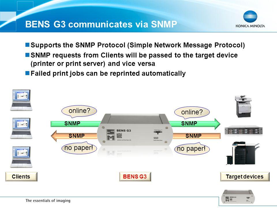 BENS G3 communicates via SNMP