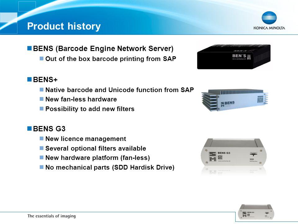 Product history BENS (Barcode Engine Network Server) BENS+ BENS G3