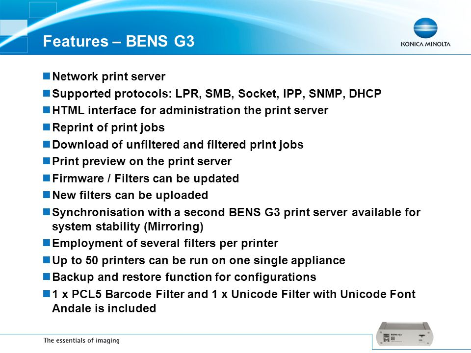 Features – BENS G3 Network print server