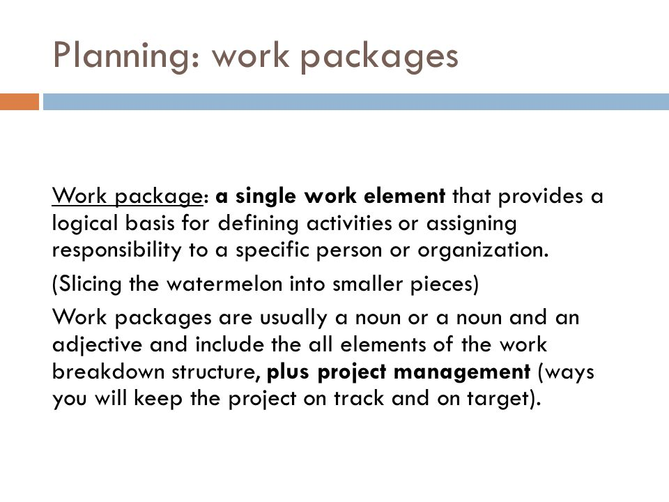 Planning: work packages