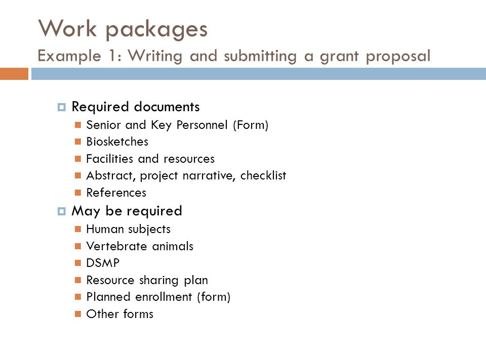 Work packages Example 1: Writing and submitting a grant proposal