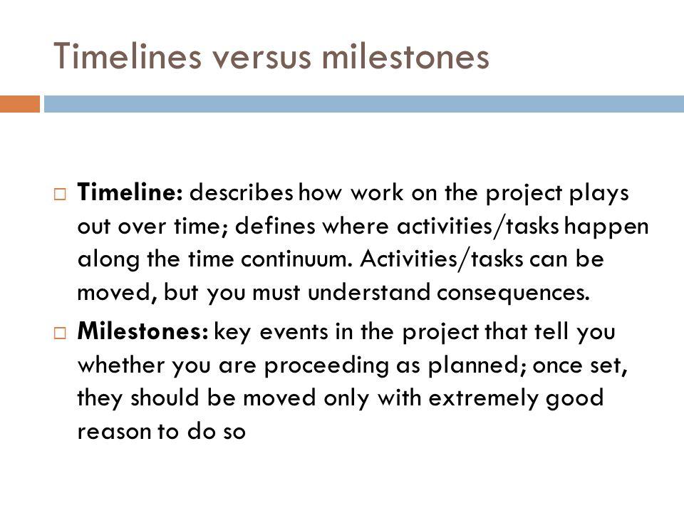 Timelines versus milestones