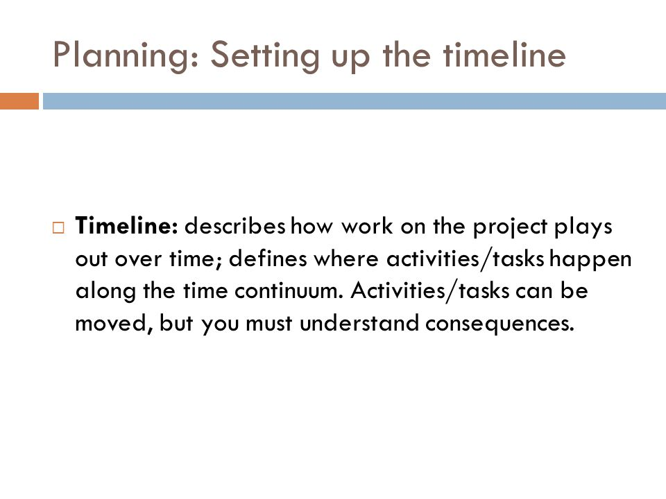 Planning: Setting up the timeline