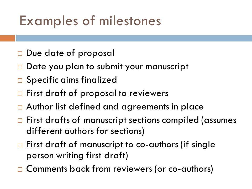 Examples of milestones