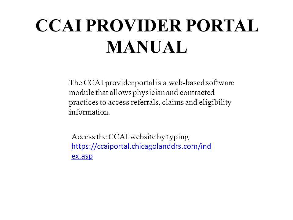 CCAI PROVIDER PORTAL MANUAL