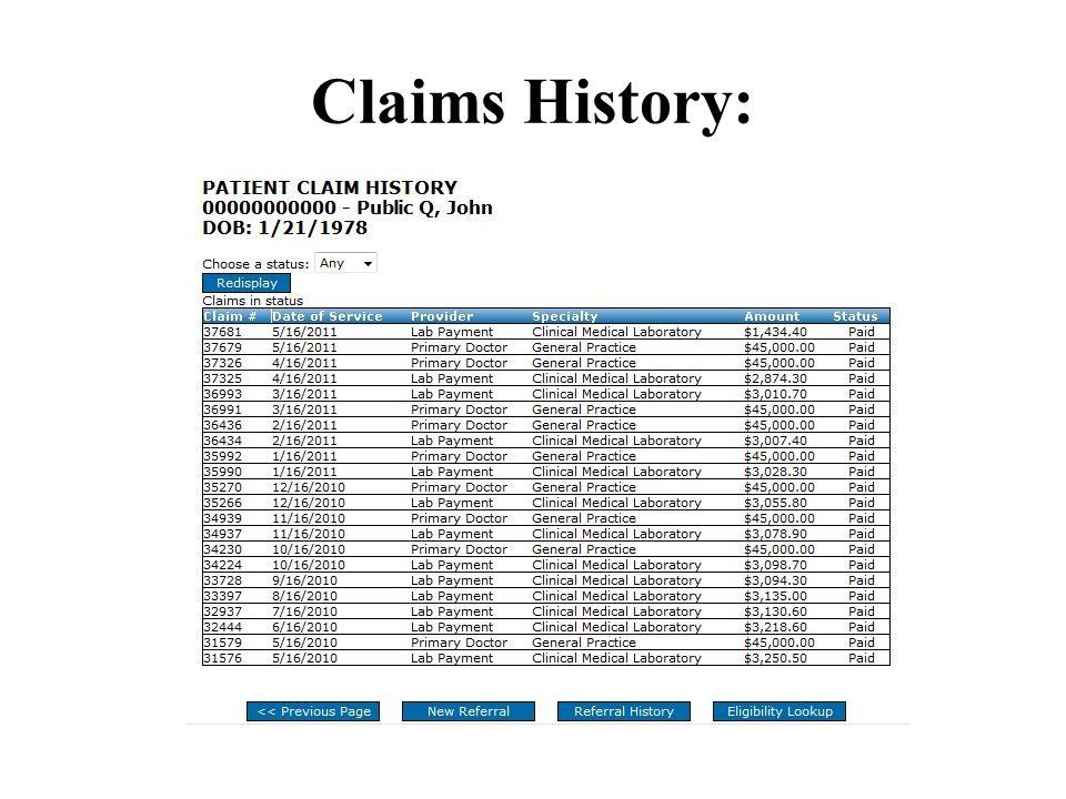 Claims History: