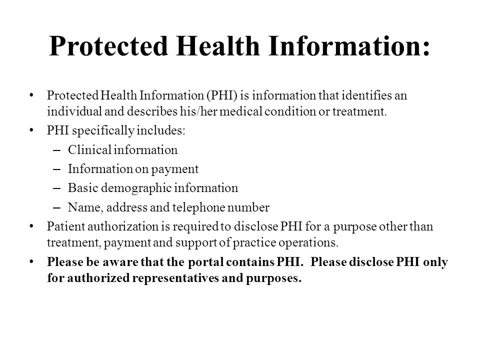 Protected Health Information: