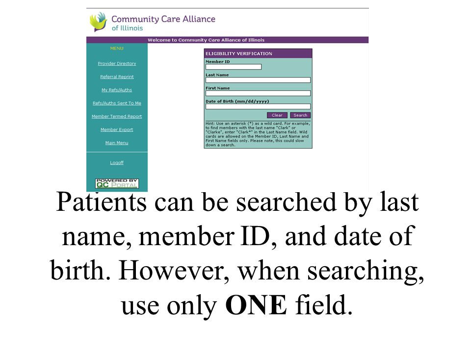 Patients can be searched by last name, member ID, and date of birth