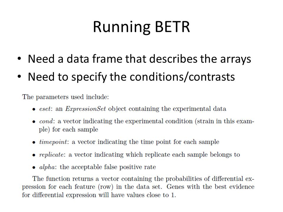 Running BETR Need a data frame that describes the arrays