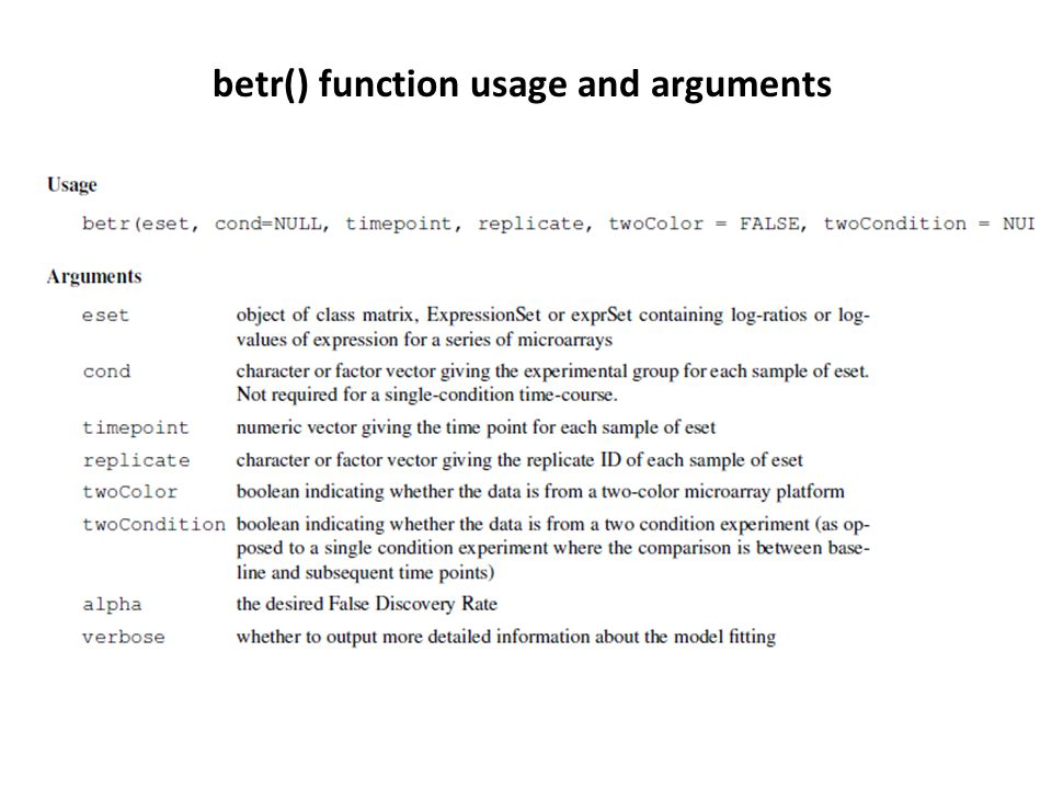 betr() function usage and arguments
