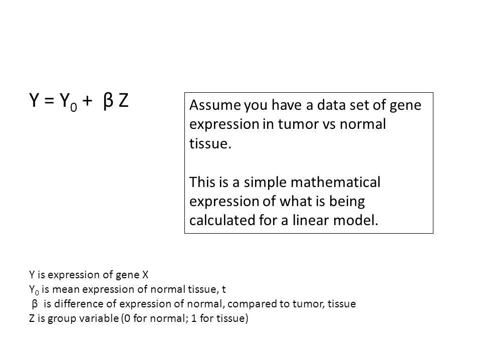 Y = Y0 + β Z Assume you have a data set of gene expression in tumor vs normal tissue.