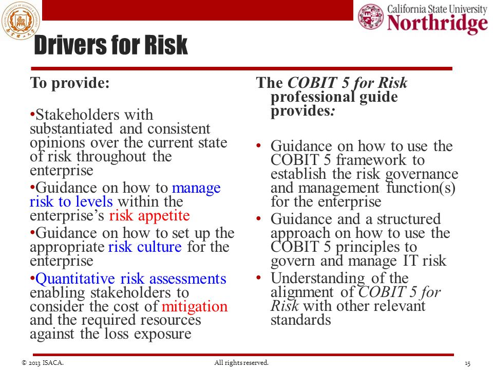 Drivers for Risk To provide: