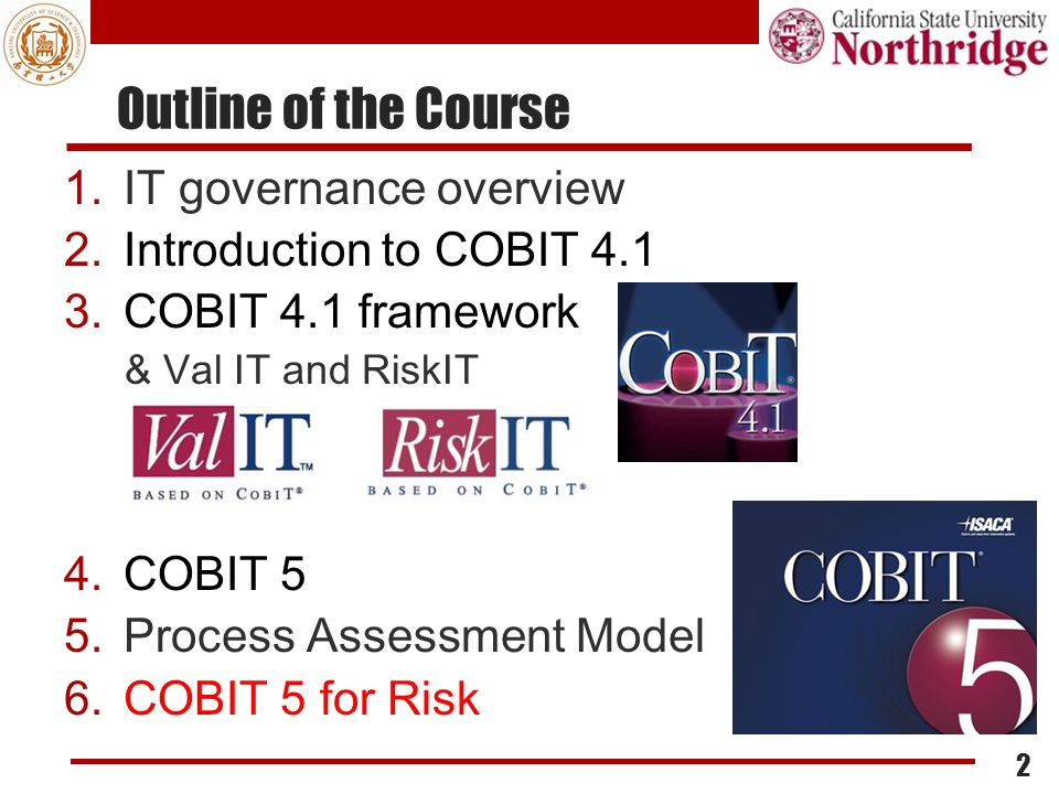 Outline of the Course IT governance overview Introduction to COBIT 4.1