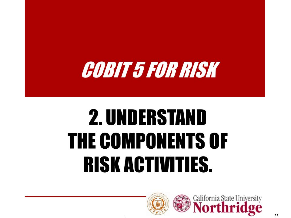 COBIT 5 for Risk 2. Understand the components of risk activities.