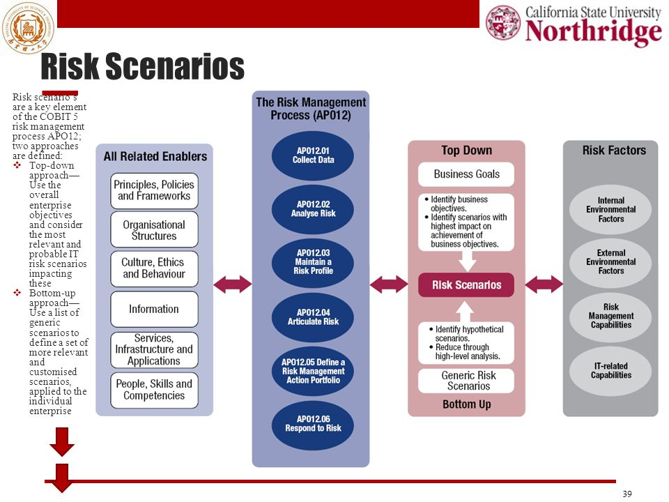 Risk Scenarios Risk scenario's are a key element of the COBIT 5 risk management process APO12; two approaches are defined: