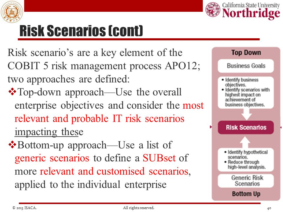 Risk Scenarios (cont) Risk scenario's are a key element of the COBIT 5 risk management process APO12; two approaches are defined: