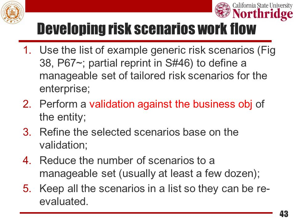 Developing risk scenarios work flow