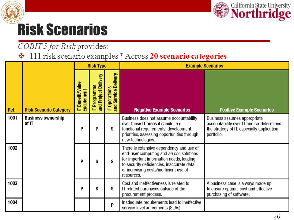 Risk Scenarios COBIT 5 for Risk provides: