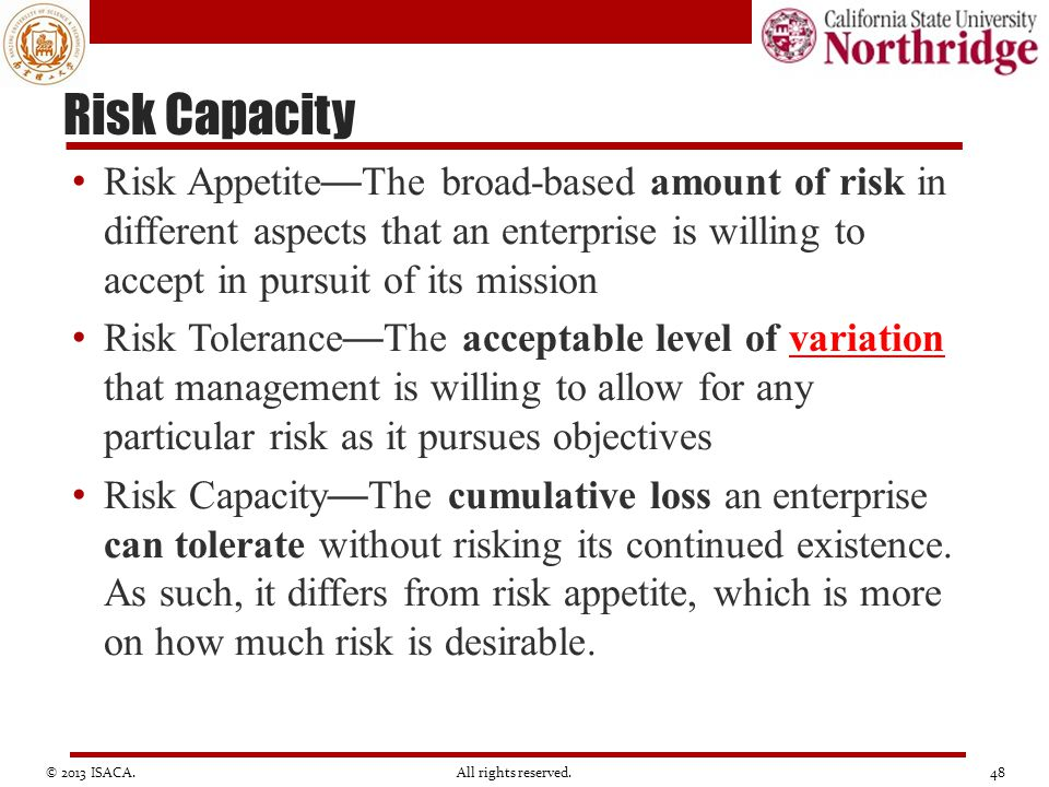 Risk Capacity Risk Appetite—The broad-based amount of risk in different aspects that an enterprise is willing to accept in pursuit of its mission.