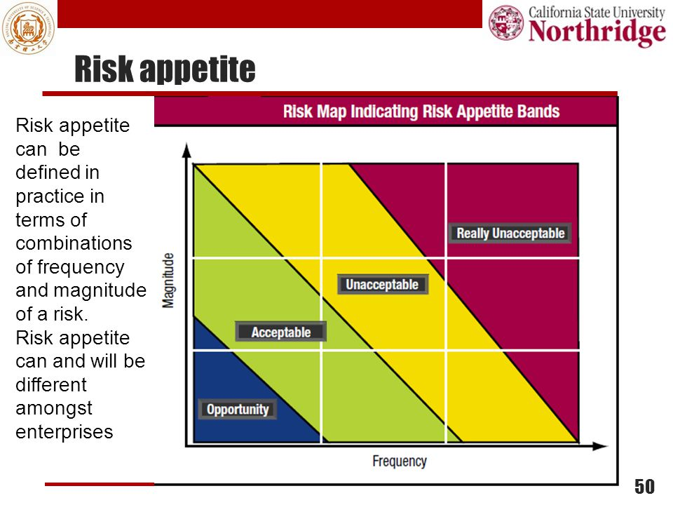 Risk appetite Risk appetite can be defined in practice in terms of combinations of frequency and magnitude of a risk.