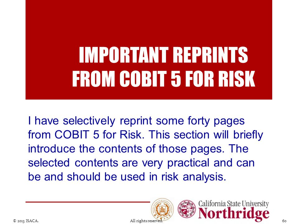 Important reprints from cobit 5 for risk