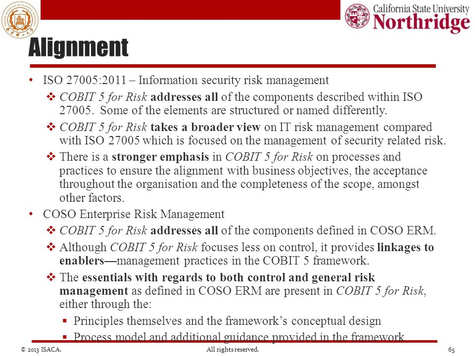 Alignment ISO 27005:2011 – Information security risk management