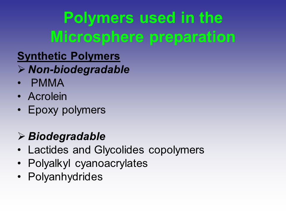 Polymers used in the Microsphere preparation