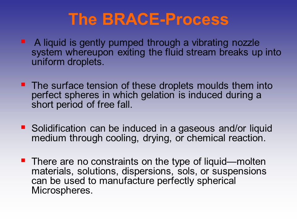 The BRACE-Process A liquid is gently pumped through a vibrating nozzle system whereupon exiting the fluid stream breaks up into uniform droplets.