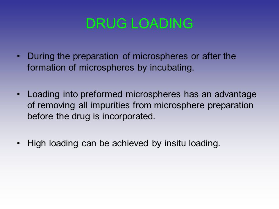DRUG LOADING During the preparation of microspheres or after the formation of microspheres by incubating.
