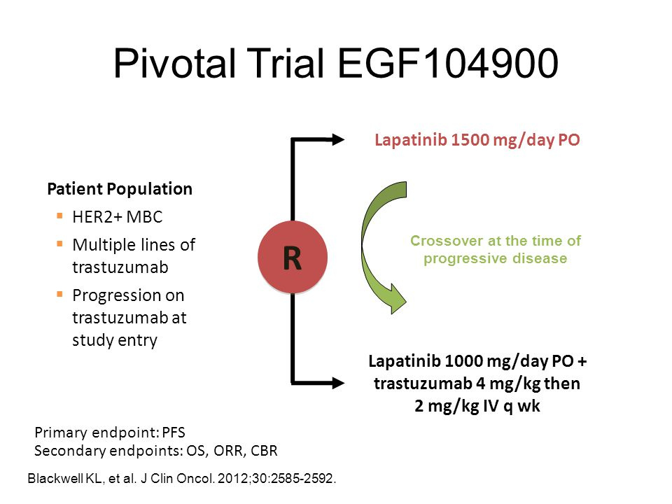 Pivotal Trial EGF104900 R Lapatinib 1500 mg/day PO Patient Population