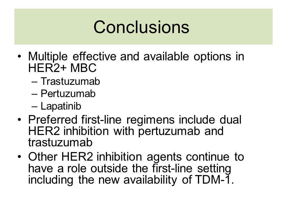 Conclusions Multiple effective and available options in HER2+ MBC
