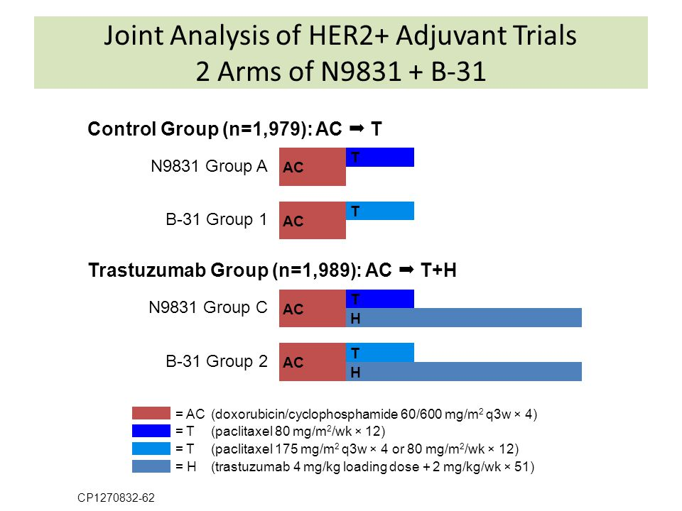 Joint Analysis of HER2+ Adjuvant Trials 2 Arms of N9831 + B-31
