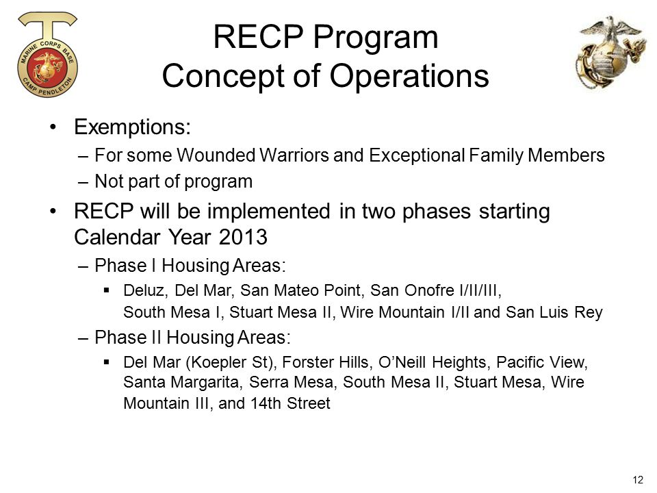 RECP Program Concept of Operations Exemptions: