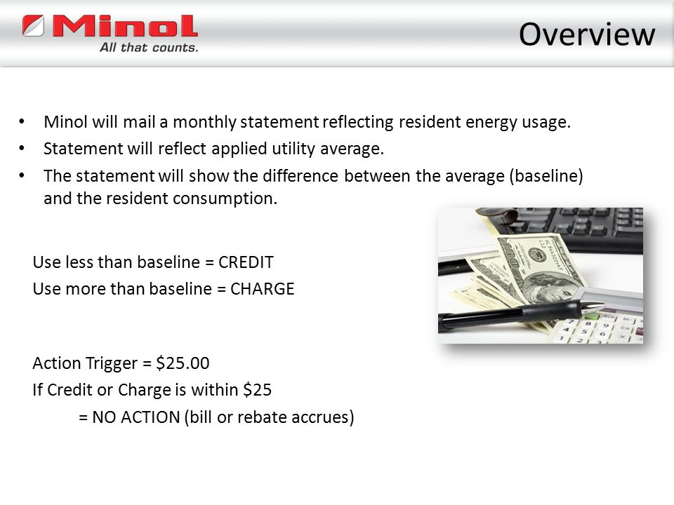 Overview Minol will mail a monthly statement reflecting resident energy usage. Statement will reflect applied utility average.