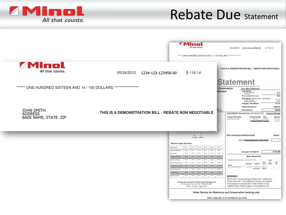 Rebate Due Statement
