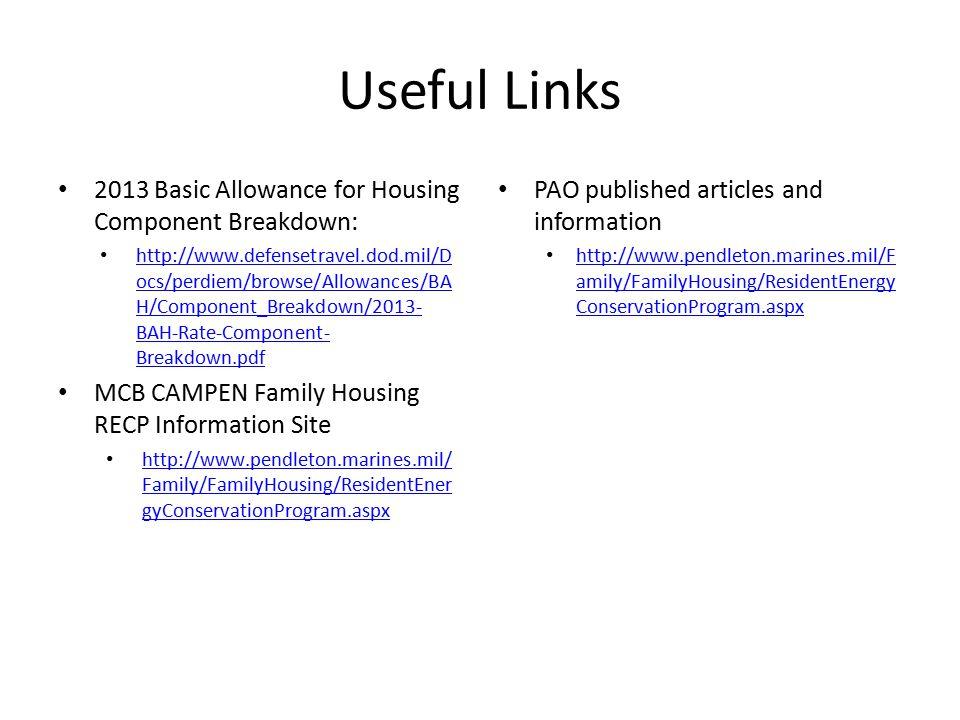Useful Links 2013 Basic Allowance for Housing Component Breakdown: