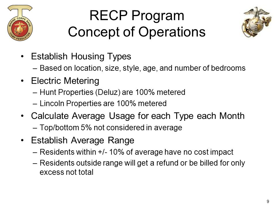 RECP Program Concept of Operations Establish Housing Types