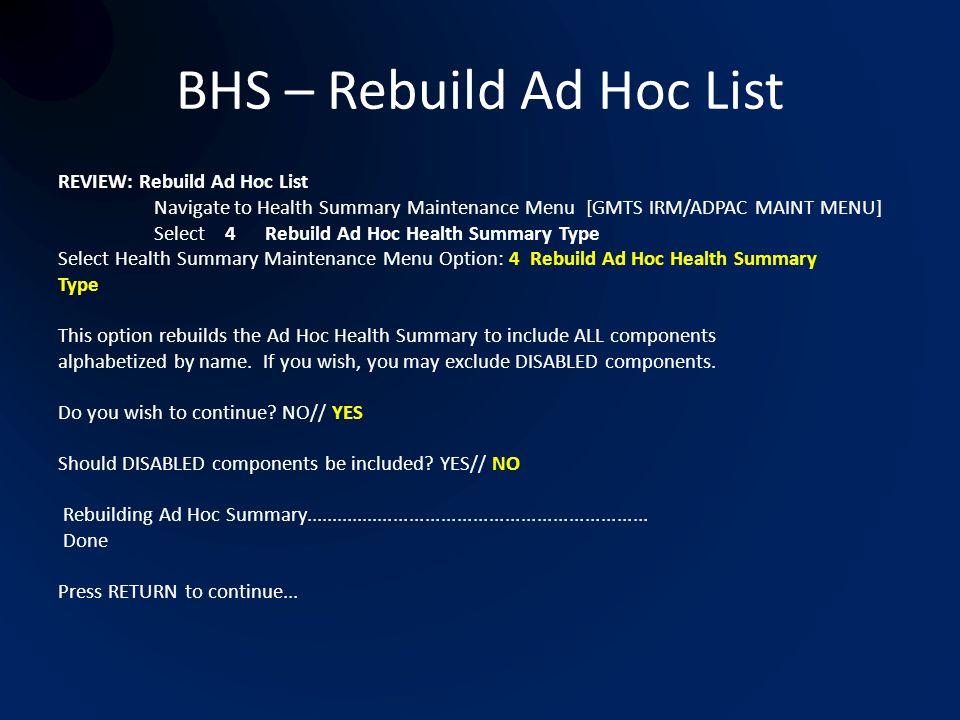 BHS – Rebuild Ad Hoc List
