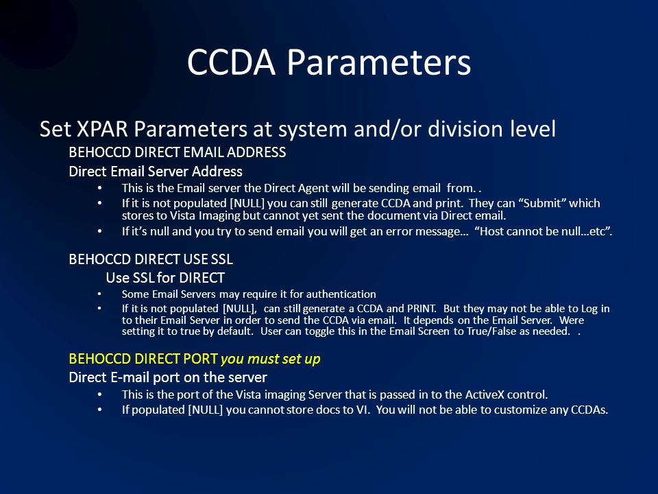 CCDA Parameters Set XPAR Parameters at system and/or division level