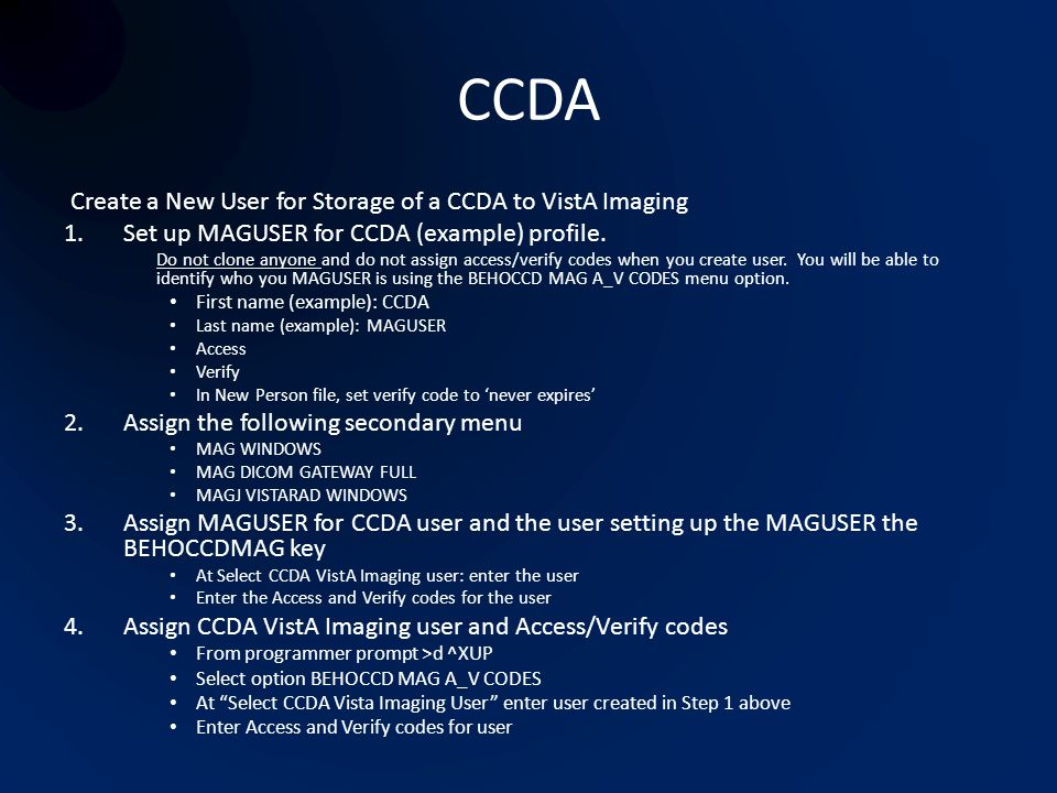 CCDA Create a New User for Storage of a CCDA to VistA Imaging