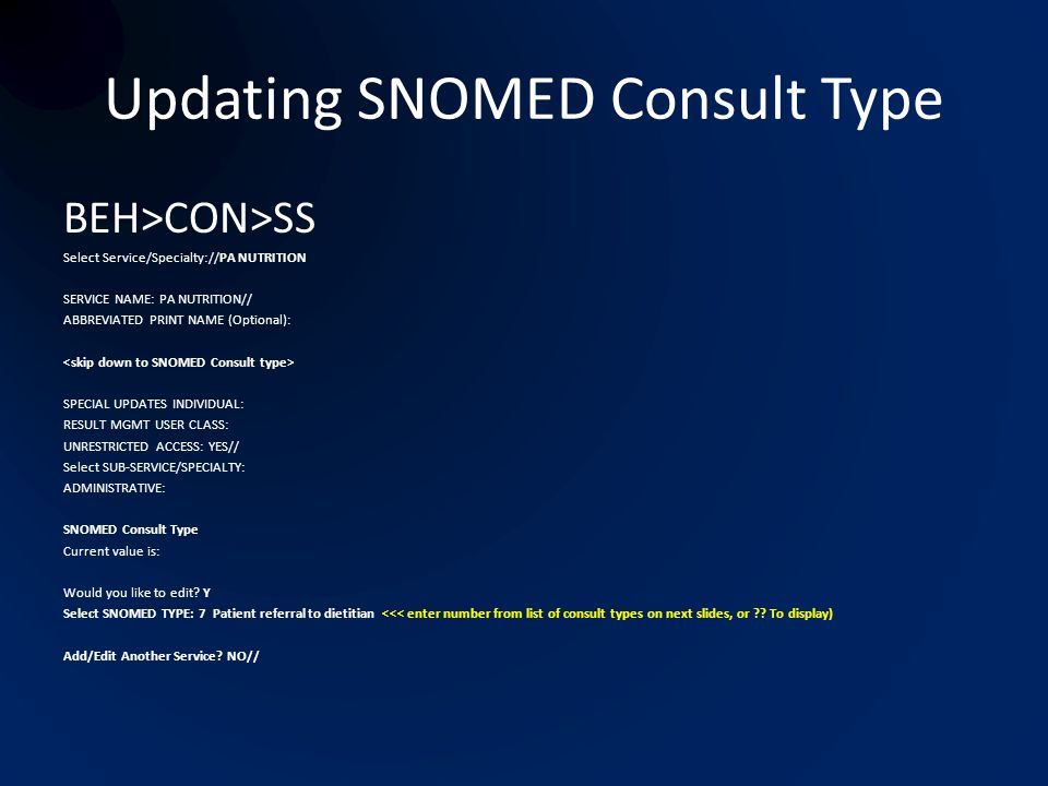 Updating SNOMED Consult Type