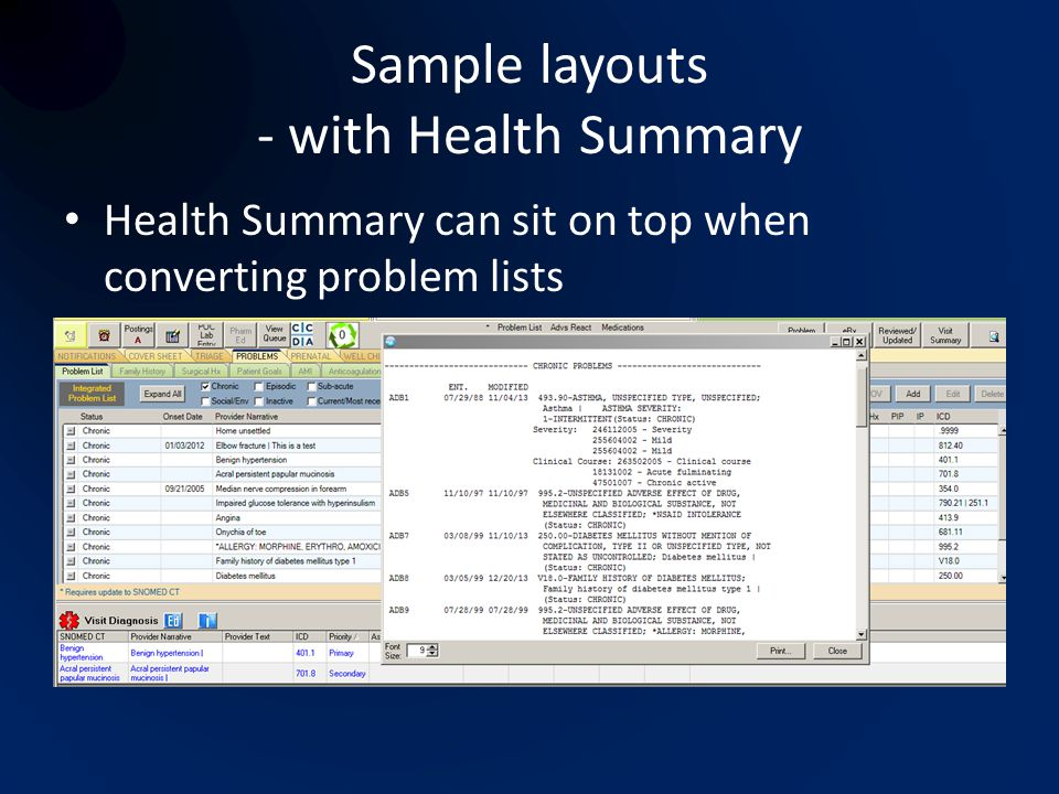 Sample layouts - with Health Summary