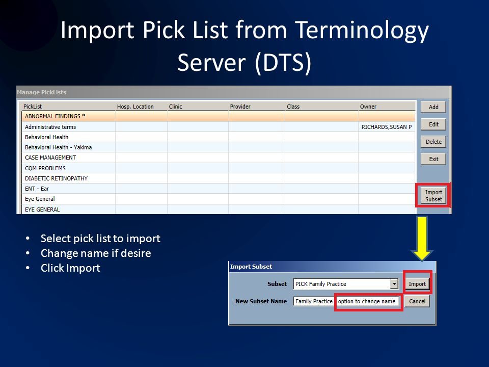 Import Pick List from Terminology Server (DTS)