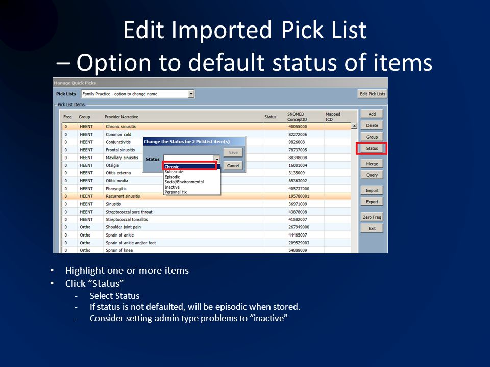 Edit Imported Pick List – Option to default status of items