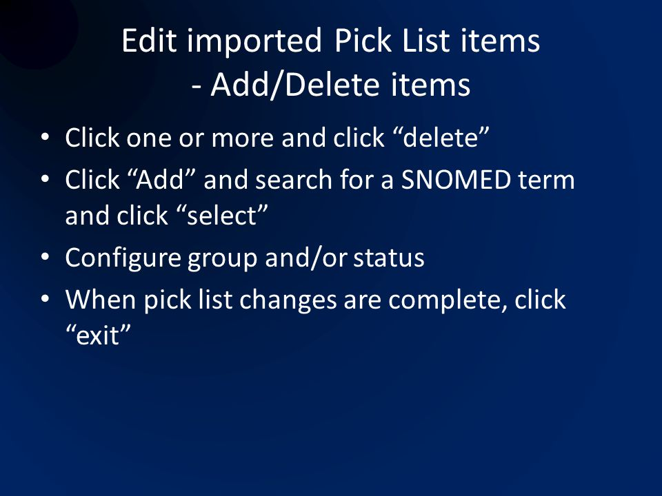 Edit imported Pick List items - Add/Delete items