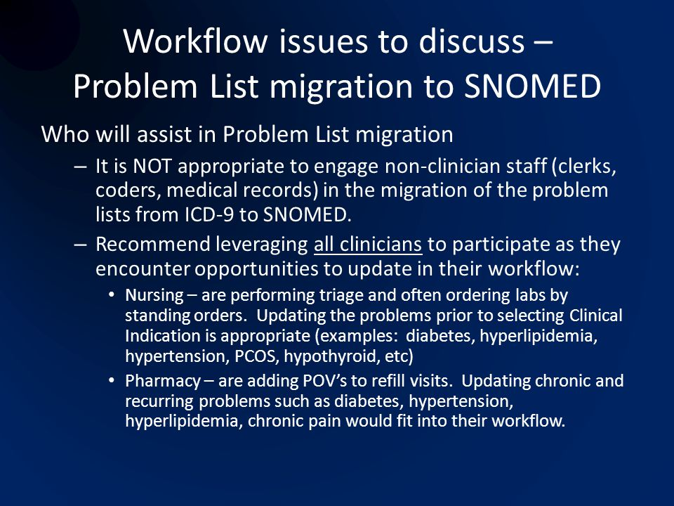 Workflow issues to discuss – Problem List migration to SNOMED
